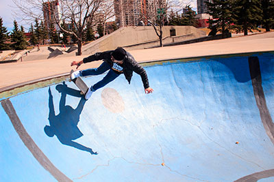 Taleb skateboards at Millennium Skate Park in downtown Calgary. Photo by Dayla Brown